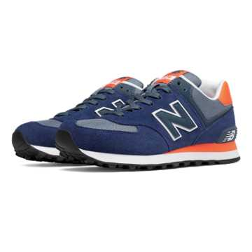 New Balance 574 Core Plus, Navy with Orange & Grey