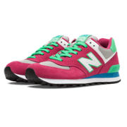 574 New Balance, Pink Glo with Green Flash & Grey