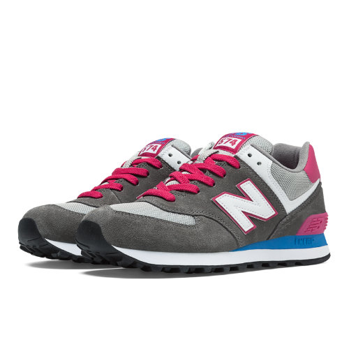 574 New Balance Women's 574 Shoes - Grey, Pink Glo, Bolt (WL574CPW)