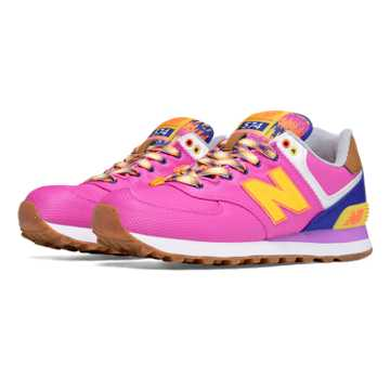 New Balance 574 Weekend Expedition, Magenta with Viper Yellow & Marine Blue