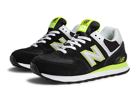 New Balance 574, Black with Lime Green & White