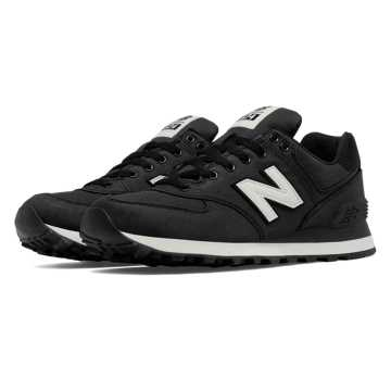 New Balance 574 Waxed Canvas, Black with Angora