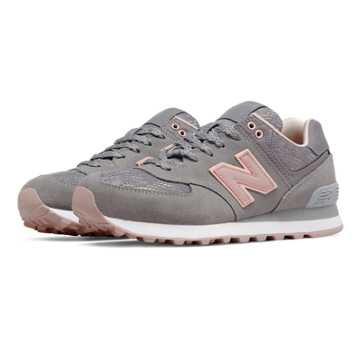 New Balance 574 Nouveau Lace, Steel with Charm & Shell Pink
