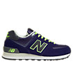 New Balance 574, Navy with Titanium & Lime Green