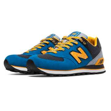 New Balance 574 Outside In, Blue with Golden Blaze