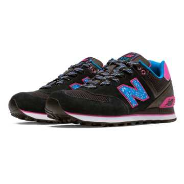 New Balance 574 Outside In, Black with Magenta