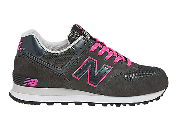 New Balance 574, Dark Grey with Diva Pink