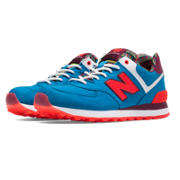 New Balance 574 Street Beat, Blue with Orange & Burgundy
