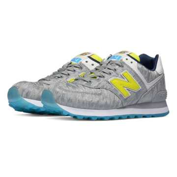 New Balance 574 Summer Waves, Silver Mink with Limeade