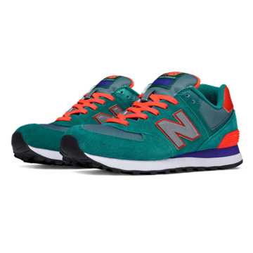 New Balance 574 Paradise Awaits, Dark Green with Orange