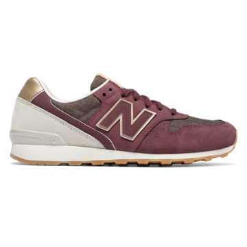 New Balance 696 NB Grey, Supernova Red with Husk