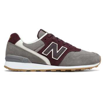 New Balance 696 Glen Check Plaid, Grey with Burgundy