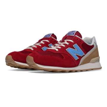 New Balance 696 Lakeview, Red with Light Blue & Tan