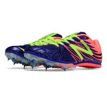 New Balance MD500v4 Spike, Blue with Shell Pink & Yellow