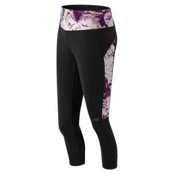 New Balance Performance Fashion Crop, Black with Imperial Print