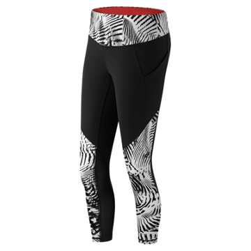 New Balance Printed Fashion Crop, Black with White