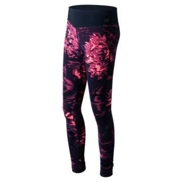 New Balance Printed Performance Tight, Guava with Black