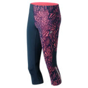 New Balance Printed Impact Capri, Guava Print with Galaxy