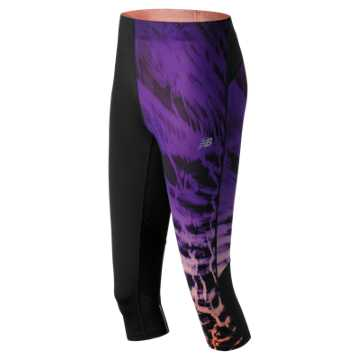 New Balance Impact Premium Printed Capri, Black with Deep Violet & Bleached Sunrise