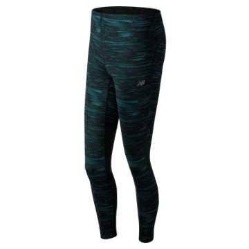 New Balance Impact Printed Tight, Black with Teal