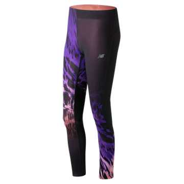 New Balance Impact Premium Printed Tight, Electric Glow with Black & Deep Violet
