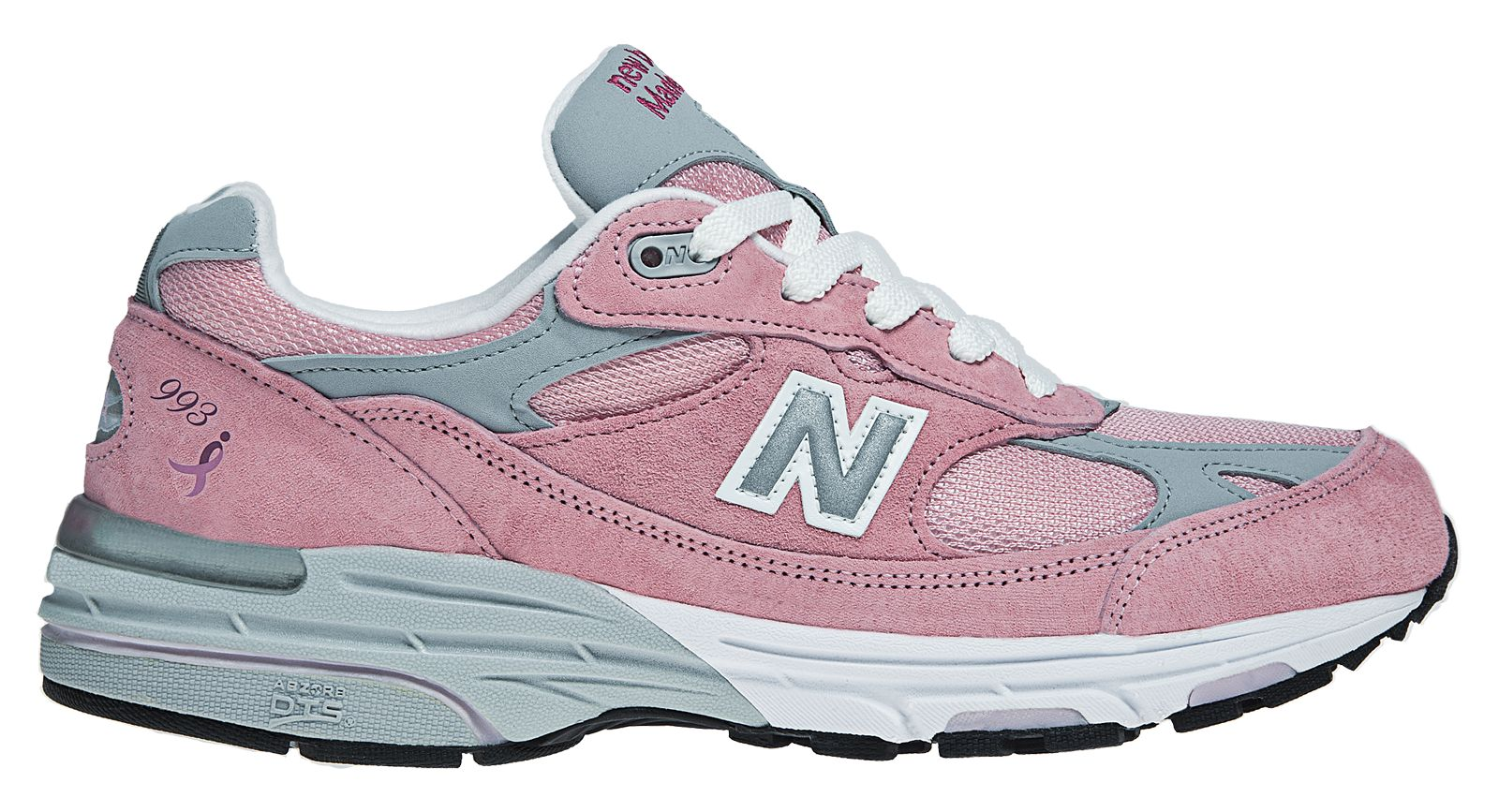 New Balance Womens Lace Up for the Cure 993 Stability Running Shoes Pink