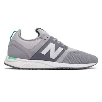 New Balance 247 Classic, Silver Mink with Vivid Jade