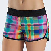 "Impact 3"" Graphic Run Short, Pink with Yellow & Green"