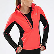 Windblocker 1/2 Zip, Fiery Coral with Black