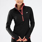 Impact Thermal 1/2 zip, Black with Fiery Coral