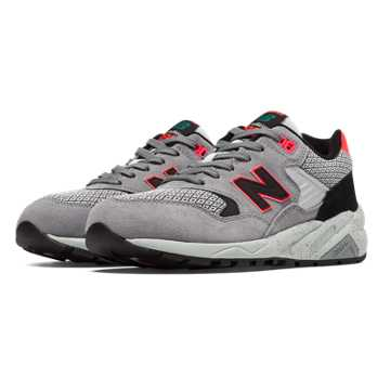 New Balance 580 Composite, Grey with Bright Cherry & Black