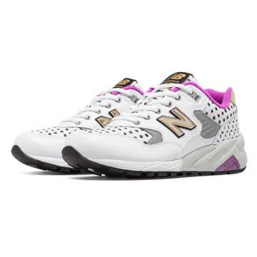 New Balance 580 Polka Dot, White with Purple Cactus Flower