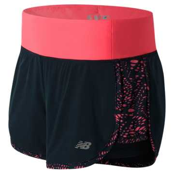 New Balance Impact 4 Inch 2 in 1 Short, Guava with Galaxy