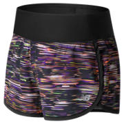 New Balance Impact 3 Inch Short Print, Black with Bleached Sunrise & Deep Violet