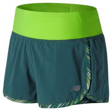 New Balance Impact 3 Inch Short Print, Tornado with Lime Glo