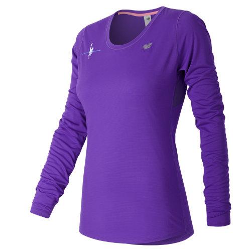 new balance female new balance 53142 womens nyc marathon training ls tee purple wt53142valv