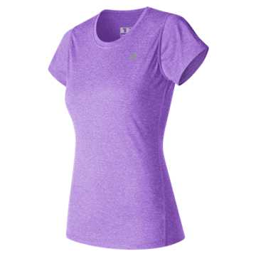 New Balance Heathered Short Sleeve Tee, Alpha Violet Heather