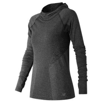 New Balance M4M Seamless Hoodie, Black Heather