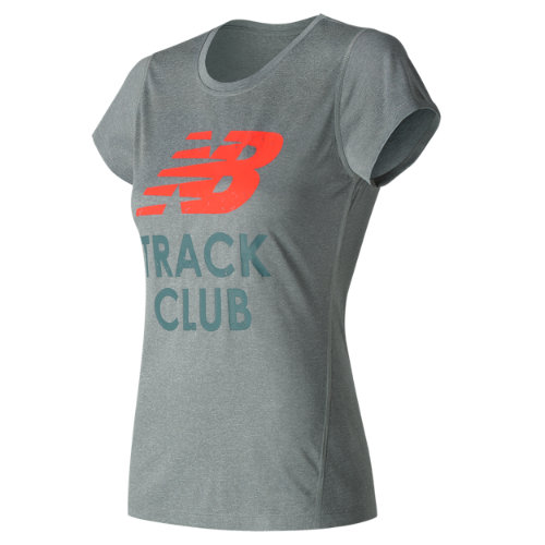 New Balance : Heathered SS Tee Graphic : Women's Apparel Outlet : WT53184GYO