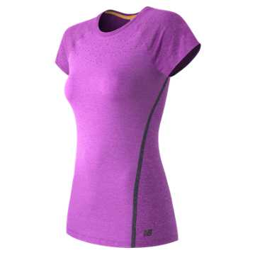 New Balance Trinamic Short Sleeve Top, Azalea Heather