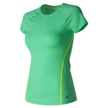 New Balance Trinamic Short Sleeve Top, Vivid Jade Heather