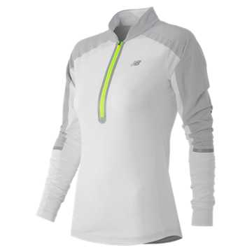New Balance Precision Run Half-Zip, White with Silver Mink & Toxic