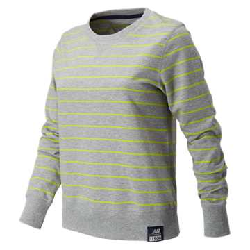 New Balance Essentials Plus Stripe Crewneck, Heather Grey