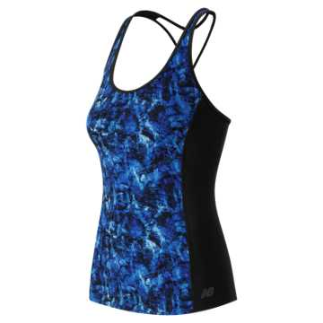 New Balance Majestic Feather Camo Racerback Bra Top, Grove with Droplet & Majestic Blue