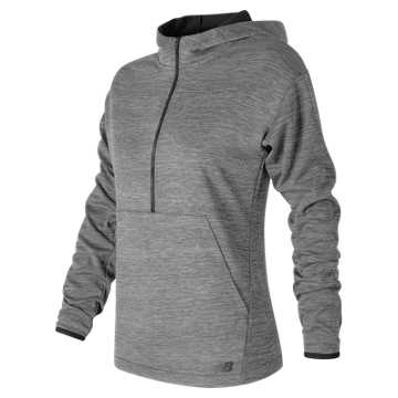 New Balance Laminated Fleece Hoodie, Grove Heather with Black