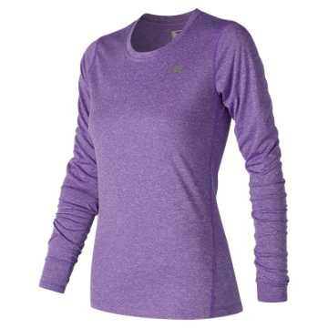 New Balance Heathered Long Sleeve Tee, Alpha Violet Heather
