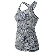 NB J.Crew Printed Perfect Tank, Navy with Silver Paisley