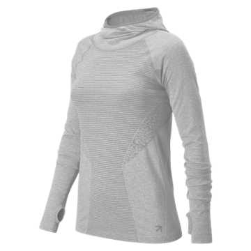 New Balance J.Crew M4M Seamless Hooded Pullover, Athletic Grey