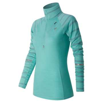 New Balance Performance Merino Half Zip, Aquarius with Athletic Grey