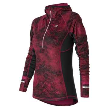 New Balance NB Heat Half Zip, Deep Jewel Multi with Black